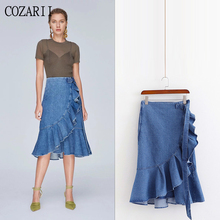 COZARII 2019 women summer elegant solid blue skirt ruffles casual style female asymmetrical fashion long