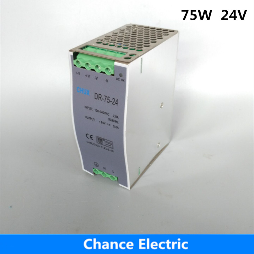 цена на 75W 24V Switch Power Supply source 85-264VAC input DR-75W-24vdc din rail power supply free shipping