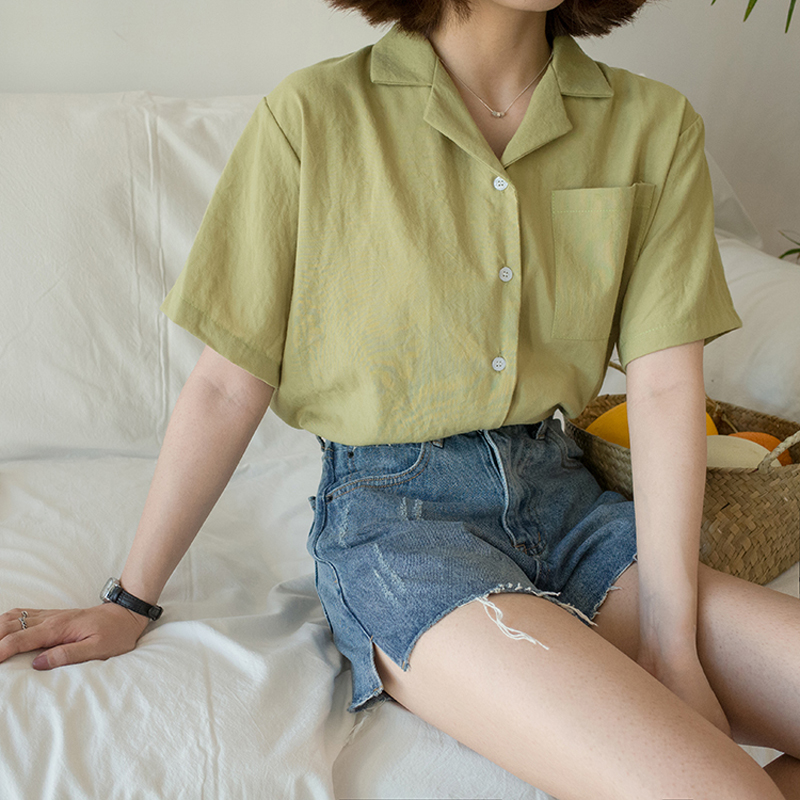 New Women Summer Small Fresh Shirts Fashion Turn down Collar Short Sleeve Blouses Harajuku Casual Pockets