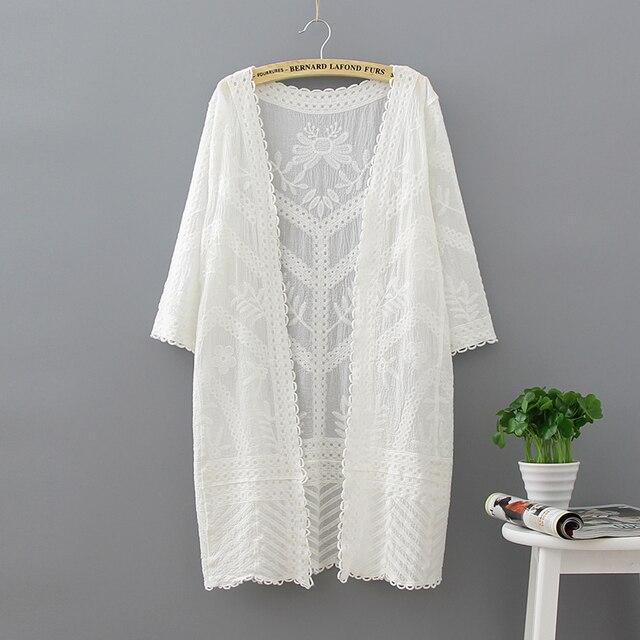 Women Beach Long Cardigan 2018 Summer Crochet Kimono Hollow Out Blouse Fashion Casual Women Lose Lace Shirts Loose White Blouse
