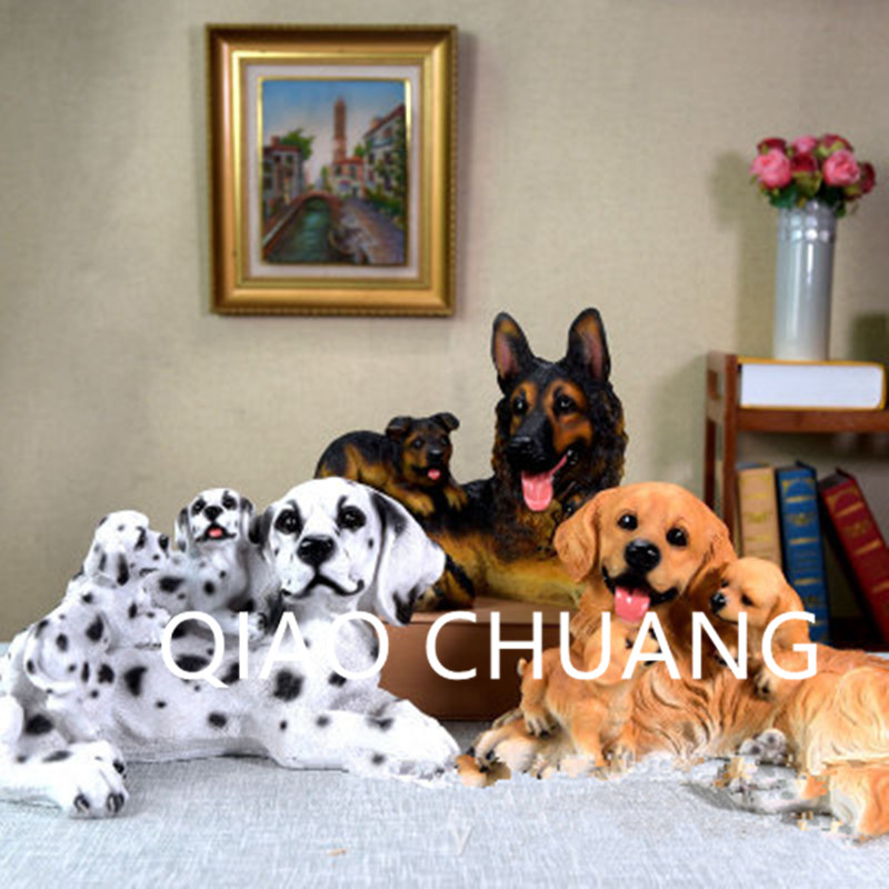 Simulation Dalmatian Golden Retriever German Shepherd Dog Creative Colophony Crafts Home Furnishing Articles G924
