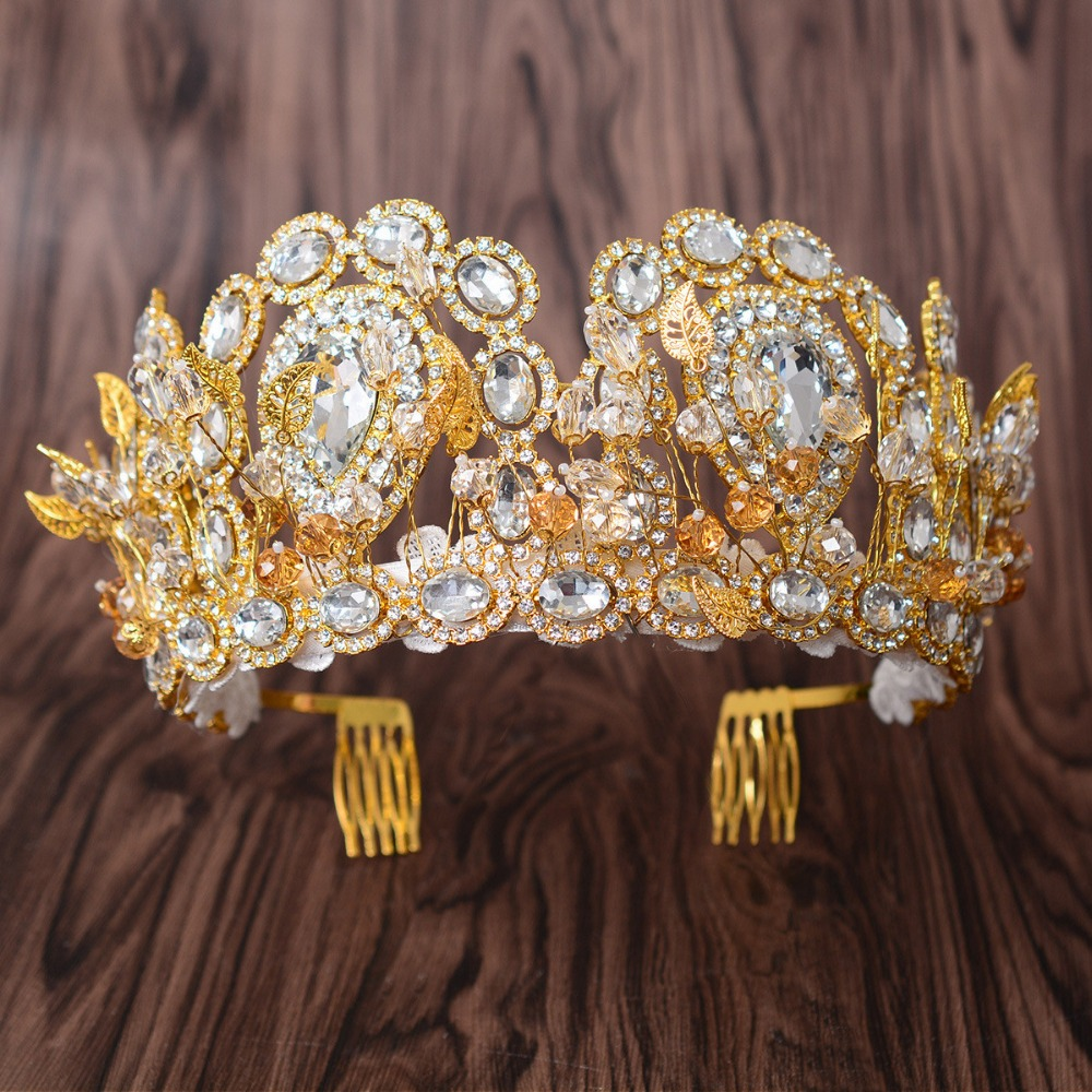 High Quality Bridal Tiaras and Crowns full Cystal Rhinestone Gold Color Leaf Hair Crown Accessories for Women 2018 Hair Jewelry delicate rhinestone leaf link chain hair band for women