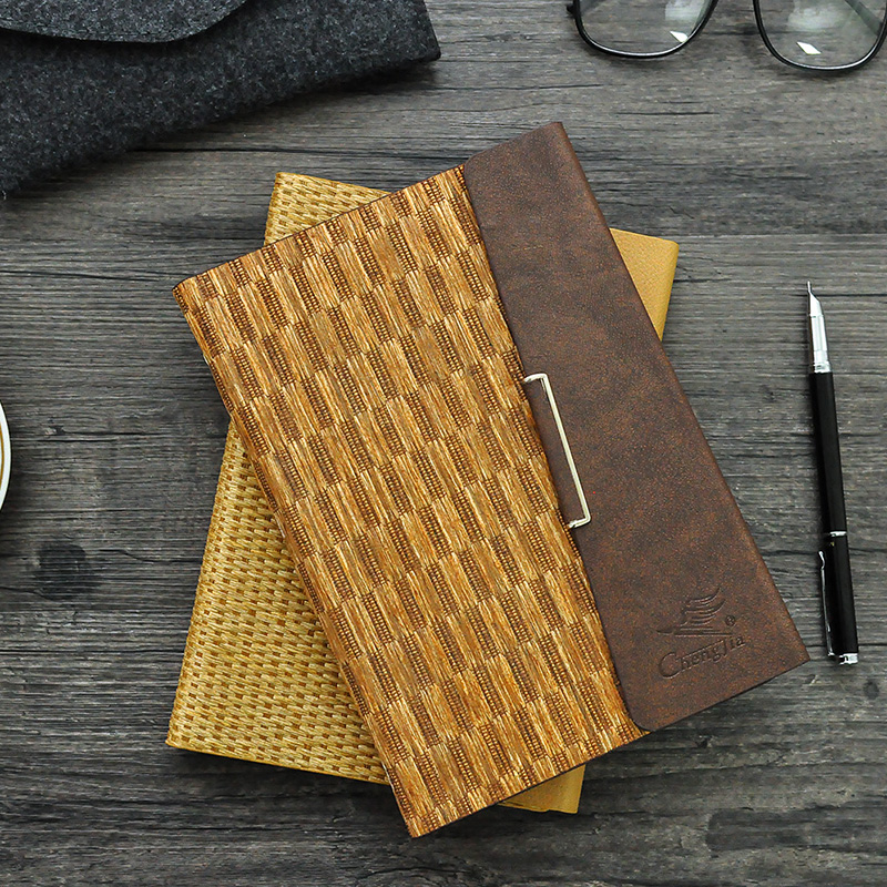 Cheng Jia Vintage Notebook Logo Embossed Pu leather cover Planner Office Daily Travelers Journals Spiral Business Notebooks cheng jia spiral notebook a5 retro leather journal daily planner notebooks writing pads office school travelers notebook binder