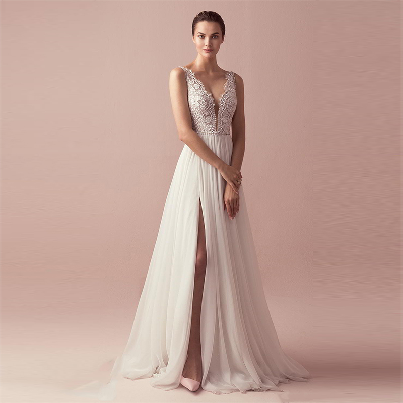 Verngo Boho Wedding Dress Lace Aline Wedding Gowns V-neck Elegant Bride Dress Side Slit Robe De Mariee