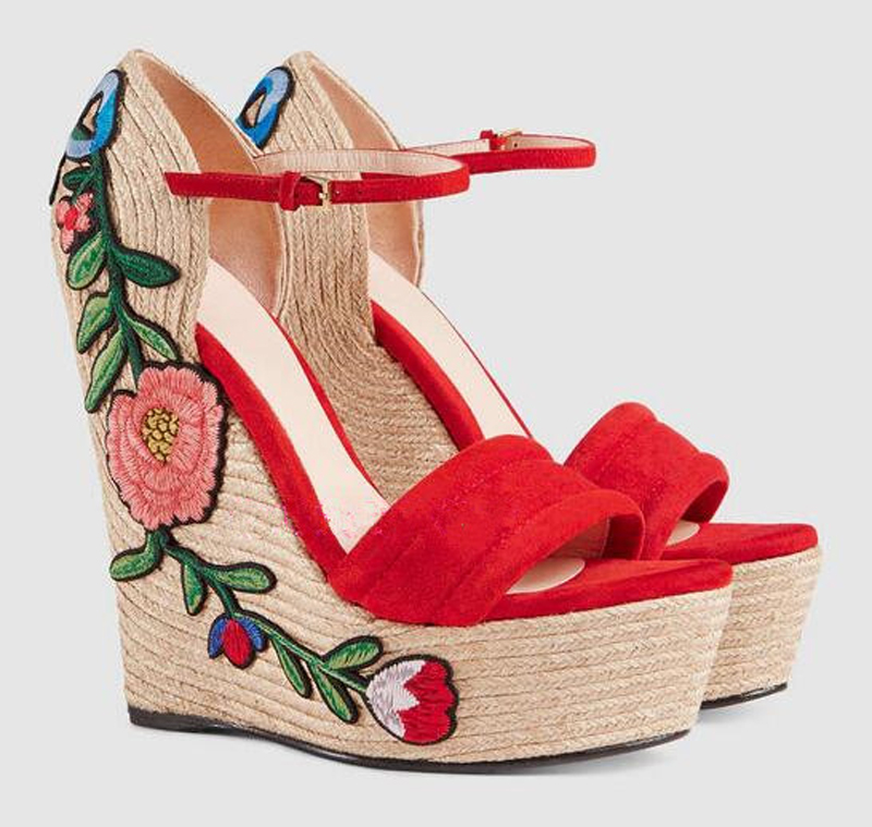 Gorgeous Summer Appliques Decoration Ankle Buckle Strap Rope Weave Wedges Sandals Women Open Toe High Platform Sandals summer causal open toe buckle high heeled thick waterproof platform sandals for women