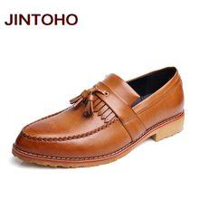 JINTOHO 2016 high quality slip on mens tassel loafers pointed toe men  leather shoes glitter mocassin 6f8028467b19