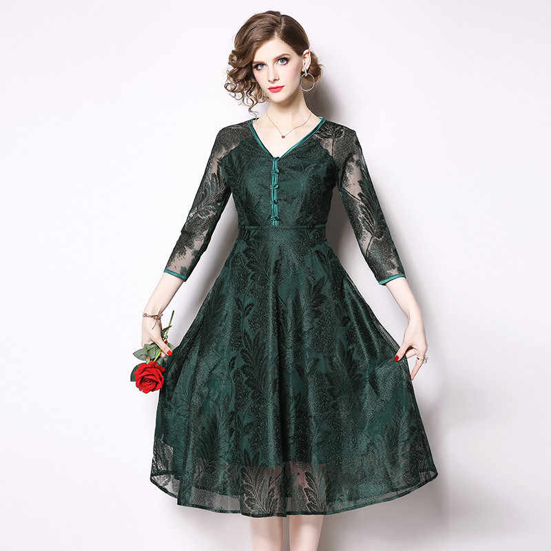 BLLOCUE 2019 Высокое качество Роскошный Подиум Новый женский сексуальный v-образный Вырез Винтаж Темный зеленое кружевное платье женское весеннее платье Vestidos