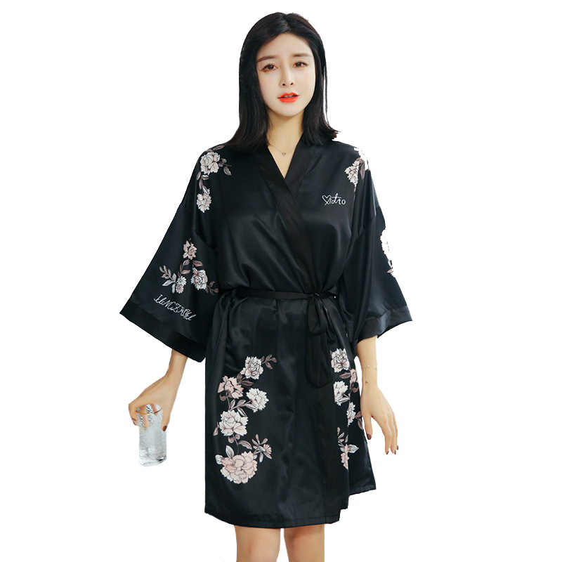 Bride Bridesmaid Wedding Robe Sexy Black Female Kimono Bathrobe Gown Summer Satin Nightg ...
