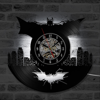 Cartoon Batman Theme CD Record   Clock   Creative Vinyl Record Wall   Clock   Handmade Modern Design Home Decor Hanging LED   Clock