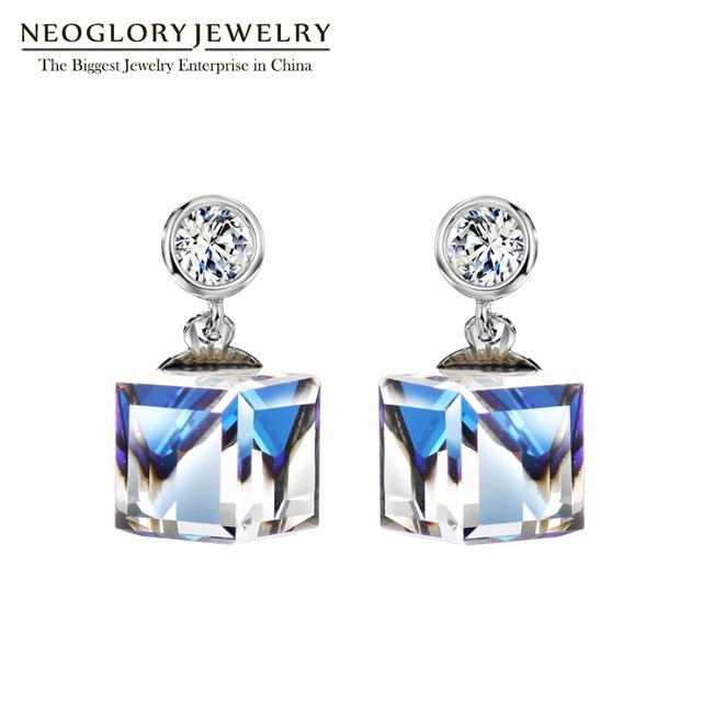 Neoglory Made With Swarovski Elements Crystal Chandelier Square Dangle Earrings For Women 2018 Bridesmaid Wedding Jewelry