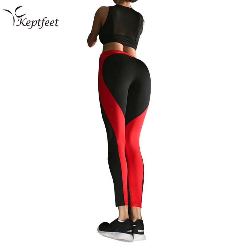 2017 Hot Sale Patchwork Heart Hip Leggings Sportswear for Women Bodybuilding Red Slim Sexy Legging Female Pants Sale
