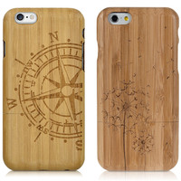 Fashion 100% Real Bamboo Wood Hard Back Cover Case For Apple iPhone X 7 6 6S 8 5 5S SE PLUS WOLF FLOWER Big Tree