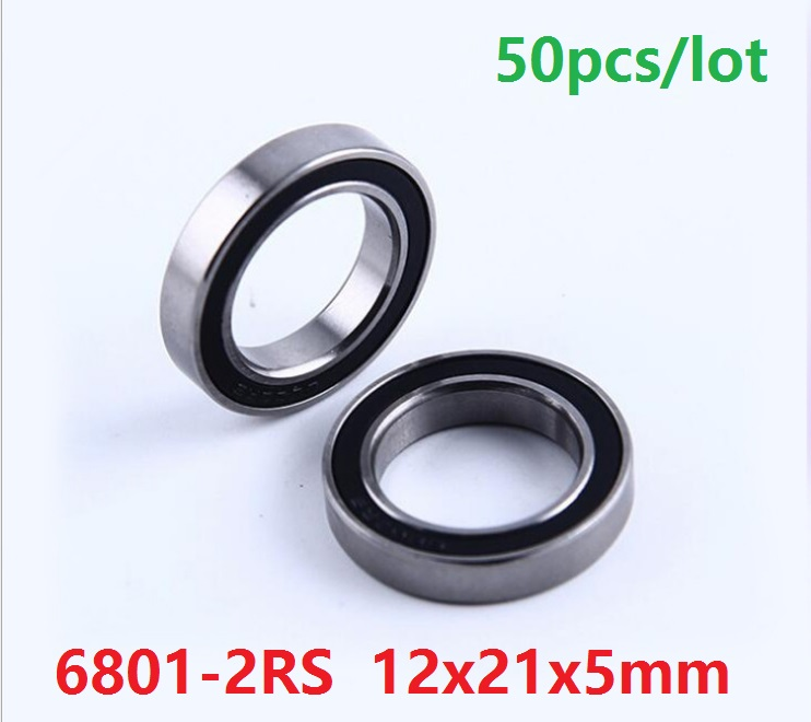 6901-2RS 50 PCS 12x24x6 mm Metal Rubber Ball Bearing Bearings Black 6901RS