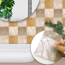 Hot Marble Tile Wall Sticker Waterproof Modern Self adhesive Wallpaper for Bathroom Kitchen Home Decor Removable Vinyl Art Decal 0 6m 5m emerald r marble film vinyl self adhesive waterproof wallpaper for bathroom sticker removable pvc wallpaper