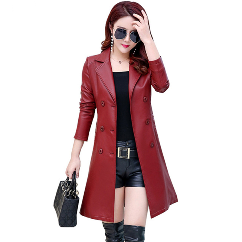 2019 Autumn Real Leather Coat women s Plus Size Casual Long Slim Street Fashion Sheep Leather