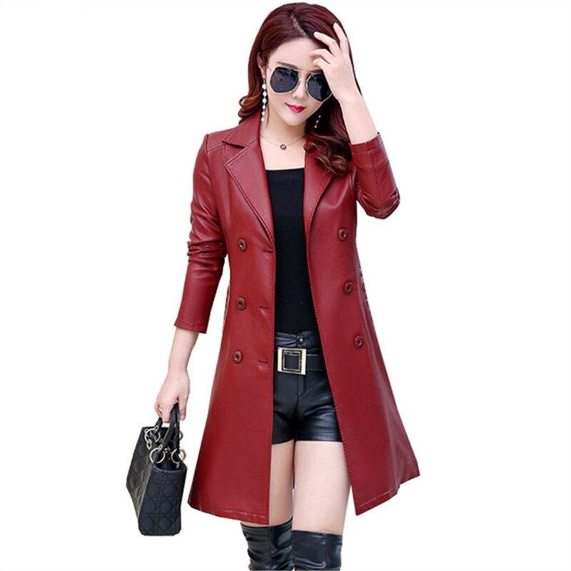 2019 Autumn Real   Leather   Coat women's Plus Size Casual Long Slim Street Fashion Sheep   Leather   Women Windbreaker Jacket Female 5X