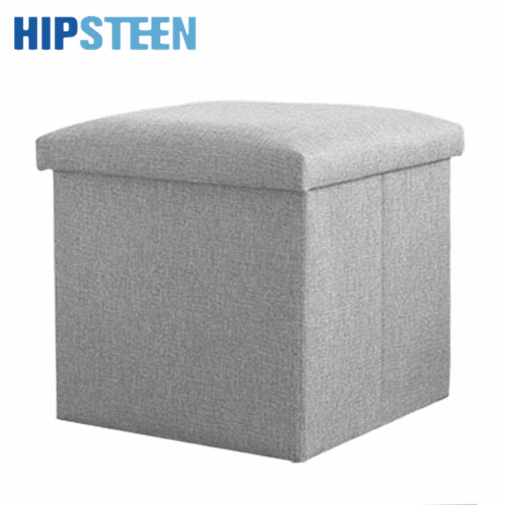 HIPSTEEN Multifonction Solid Color Square Folding Storage Box Ottoman Cube  Foot Stool Seat 30*30*30cm   Orange