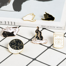 Witch Hand Fire Magic book Good vibes Bottle Starry Moon Pins Badges Brooches Lapel pin Enamel pin Witch pins Women Men Brooch(China)