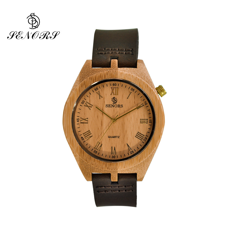 Fashion Quartz Wooden Watch Luxury Men Watches Wood Leather Watches Bamboo Dress Wristwatch for Male Relogio Masculino by SENORS bobo bird monkey watch wooden relojes quartz men watches casual wooden color leather strap watch wood male wristwatch for gift