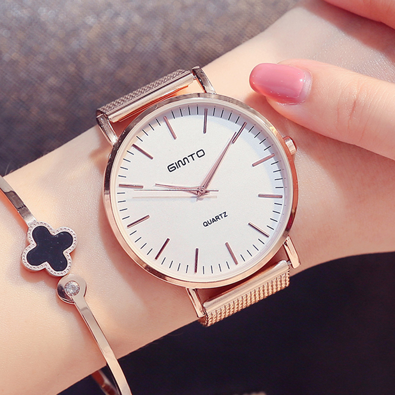 GIMTO Rose Gold Watch Women 2017 Clock Dress Weave Steel montre femme Bracelet Metal Quartz Ladies Watches  For Women Wristwatch gimto brand dress women watches steel luxury rose gold bracelet wristwatch clock business quartz ladies watch relogio feminino