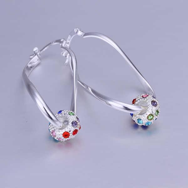 סיטונאי 925 עגילי כסף סטרלינג, 925 כסף תכשיטים צבעוני ריינסטון חרוז לב טיפת עגילים לנשים SE245
