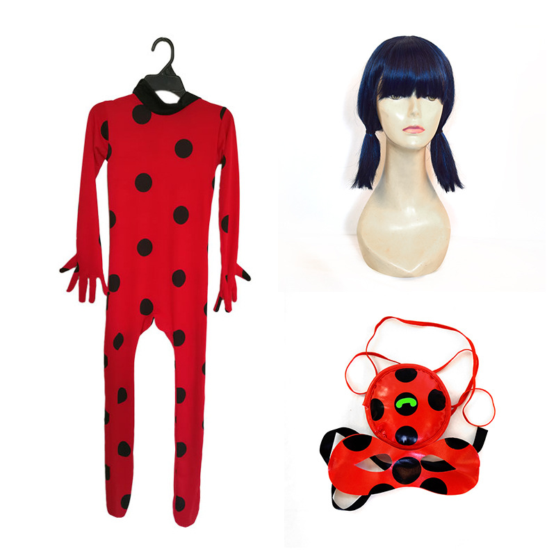Kids Girls Miraculous Ladybug Marinette Cosplay Costume Jumpsuit & Mask & Bag FR Déguisements