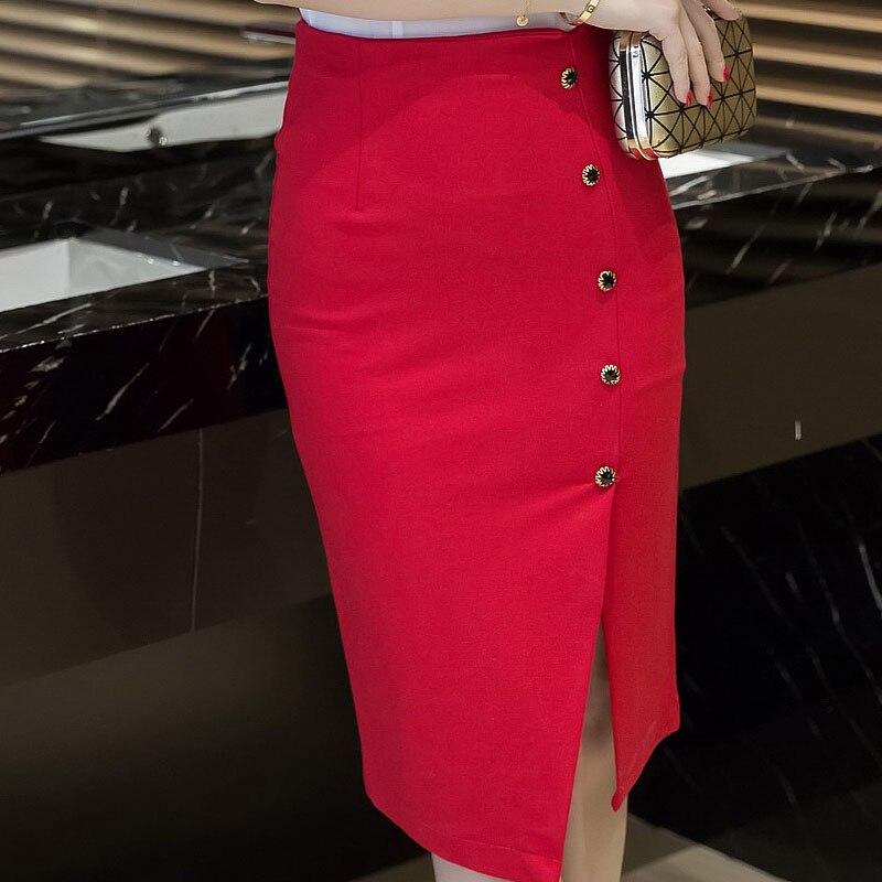 9854569aa1ba3a € 7.85 |Femmes jupes 2018 automne hiver taille haute Midi bouton serré jupe  rouge noir fente moulante crayon jupes élégant femmes bureau dans ...
