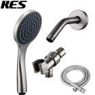 KES DP105-2 Bathroom Lavatory Single Function Handheld Shower Head with Extra Long Hose and Shower Arm Mount, Brushed Nickel