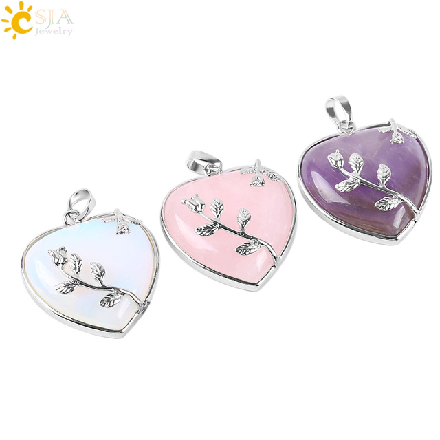 CSJA Natural Stone Jewelry New Arrival Rose Flower Pendant Leaf Long Necklace Copper Real Love Heart Gem Jewellery for Girl E073