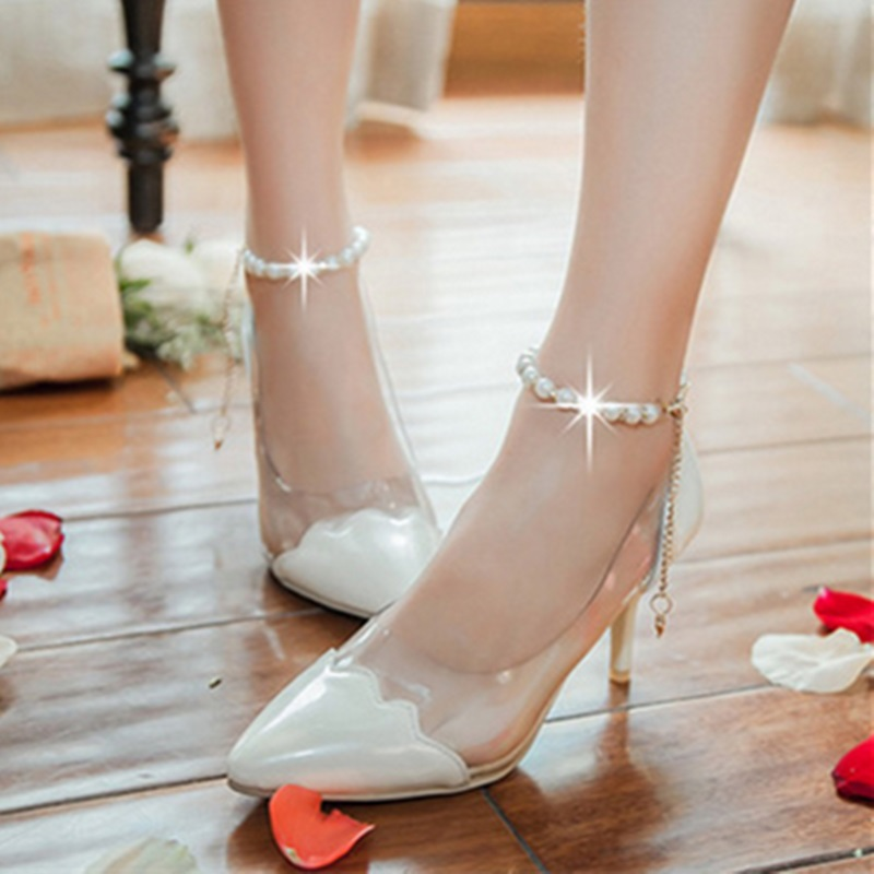Lady's Clear Mixed Color Patent Leather Sexy Hot Sale Beading Chain Big Size 34-43 Med High heels Pointy Toe Sandals Women Pumps yamaha clp 645r