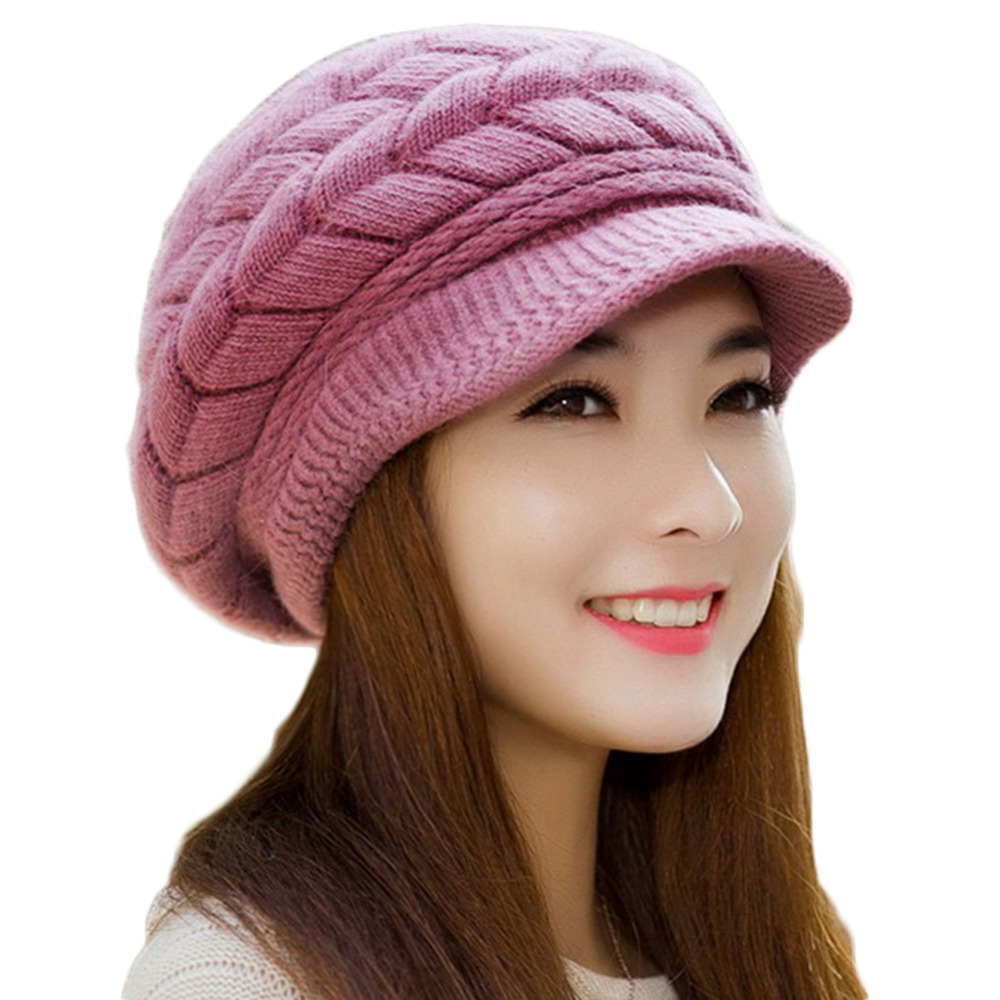 Hot Winter Women Hat Warm Knitted Crochet Balaclava Cotton Slouch Baggy Beret Beanie Hats Cap for women bonnet femme 2017 new women ladies cable knitted winter hats bonnet femme cotton slouch baggy cap crochet beanie gorros hat for women