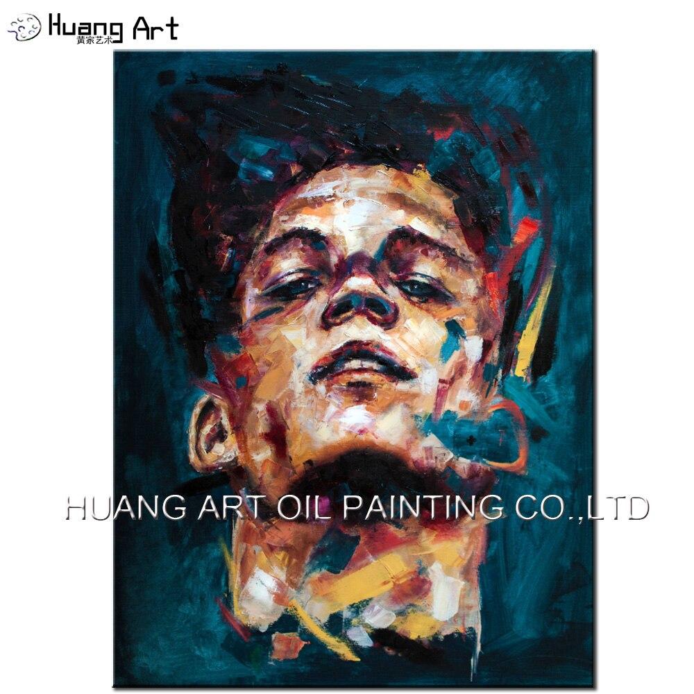 Homme visage figure peinture à l'huile toile grande taille à la main par célèbre peintre moderne peintures couteau designer maison mur décor