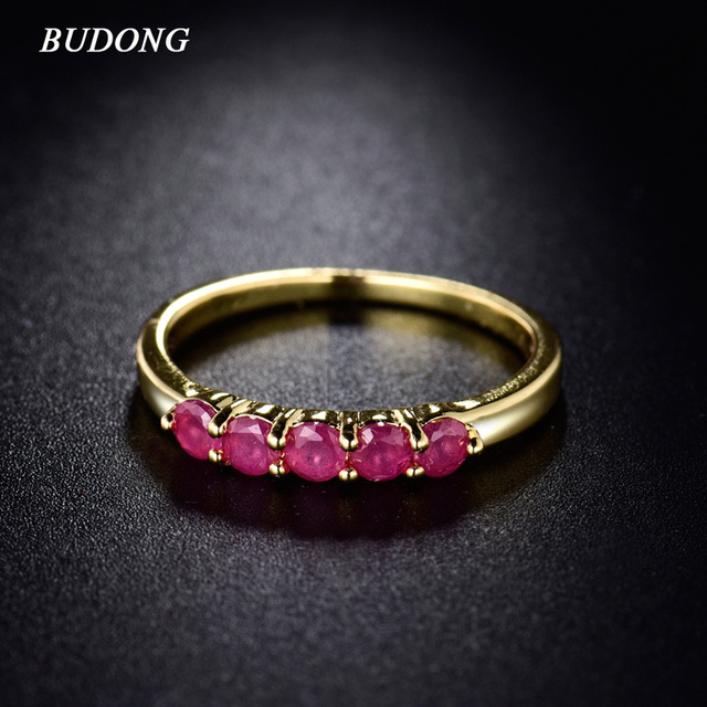 BUDONG Fashion Cubic Zirconia Band for Women Gold Color Rings Round Engagement R
