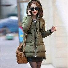 2016 Зима Большой Размер Хлопок Парки Женщины Моды случайные Долго куртка Army Green Пальто Felame Хлопка-проложенный Одежды M-5XL D5