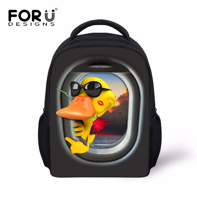 Forudesigns pequeñas mochilas escolares para niños de jardín de infantes los niños pato lindo de la rana animal prints preescolar mochilas escolares estudiante