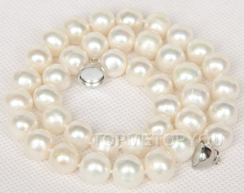 ᑐEnvío libre> Amazing 11mm blanco natural redondo perlas collar ...