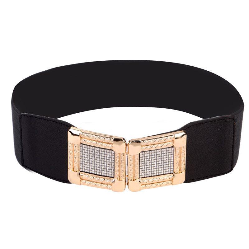 Women Fashion Belt Waistband Stretch Straps Thin Skinny Elastic  Leather Wide Metal Buckle Waist Belt Accessories 2017 Female
