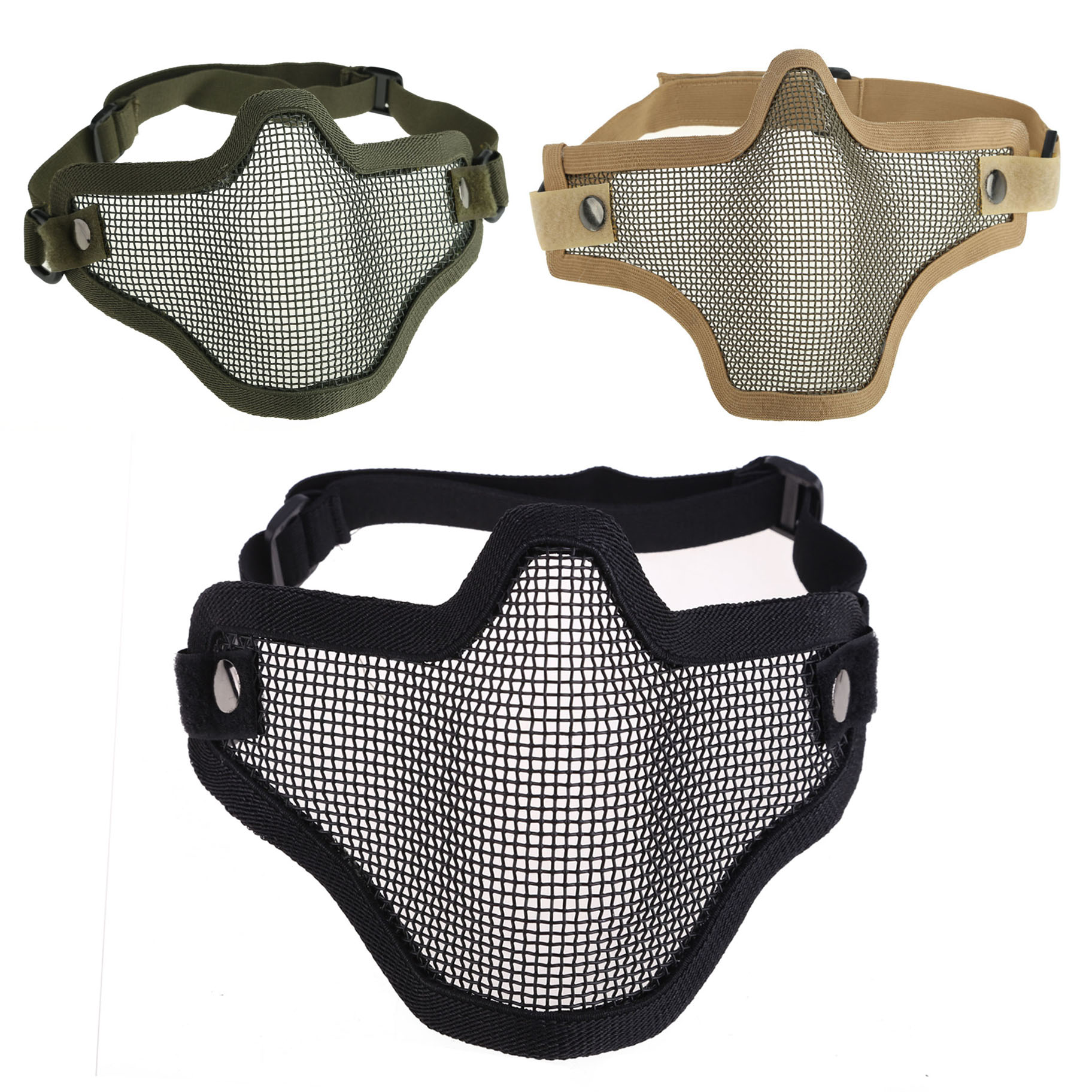 New Outdoor Pro Shooting Paintballs Protective Tactical Hunting Metal Half Face Mask Mesh Airsoft Paintball Protective Mask SS