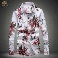 Miuk plum flor de los hombres camisa de vestir de gran tamaño 4xl 5xl brand clothing algodón de manga larga camisetas fashion camisetas masculinas 2017