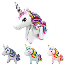 1pc Large 4D Assemble Unicorn Balloon My Little Pony Party Decor Birthday Decorations Kids Babyshower 1st Supplies