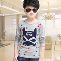 2016 Spring and Autumn cartoon cotton Long T-shirt boys and girls Printing patterns round neck T-shirt Free shipping4T-14T