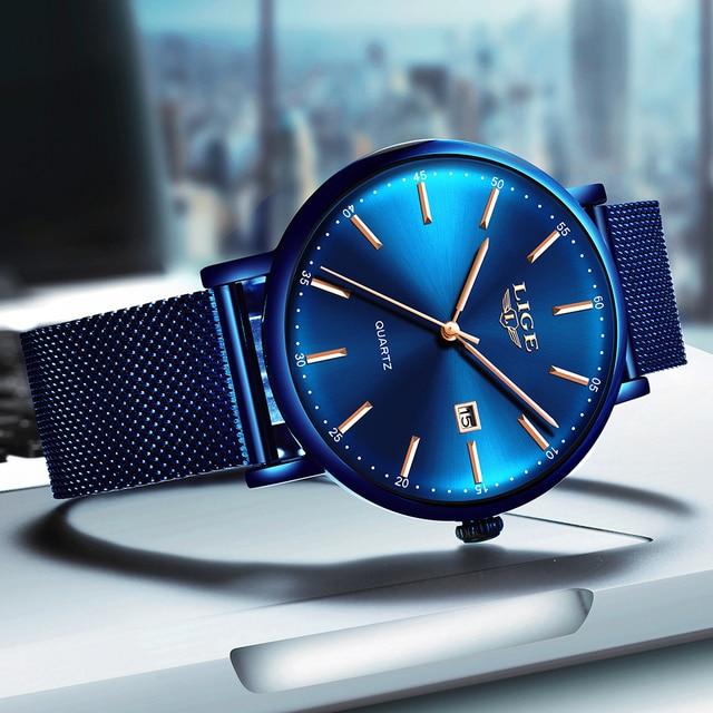 Фото lige мужские часы лучший бренд класса люкс спортивные ультратонкие