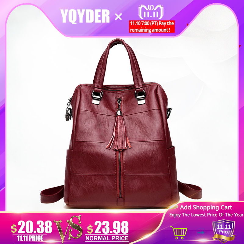 Women Multifunction Backpack Leather Tassel Shoulder Bag Large Capacity Backbag Female Zipper School Bag Girl Travel Bag Mochila amasie shoulder bag women s bag genuine leather large capacity fashion backbag leisure bag for girl wed0016