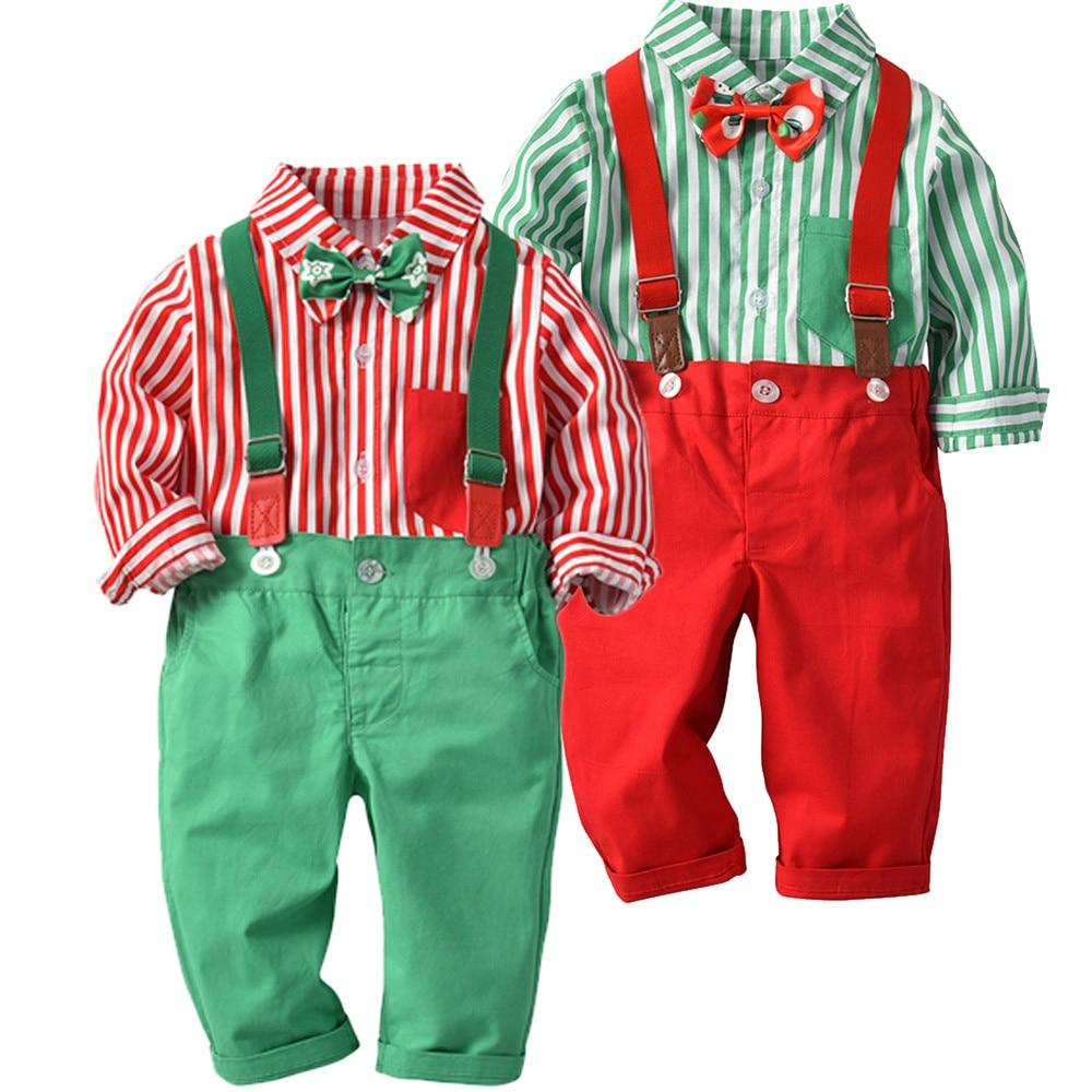 Kid Baby Boys Gentleman Bow Christmas Shirt+Suspenders ...
