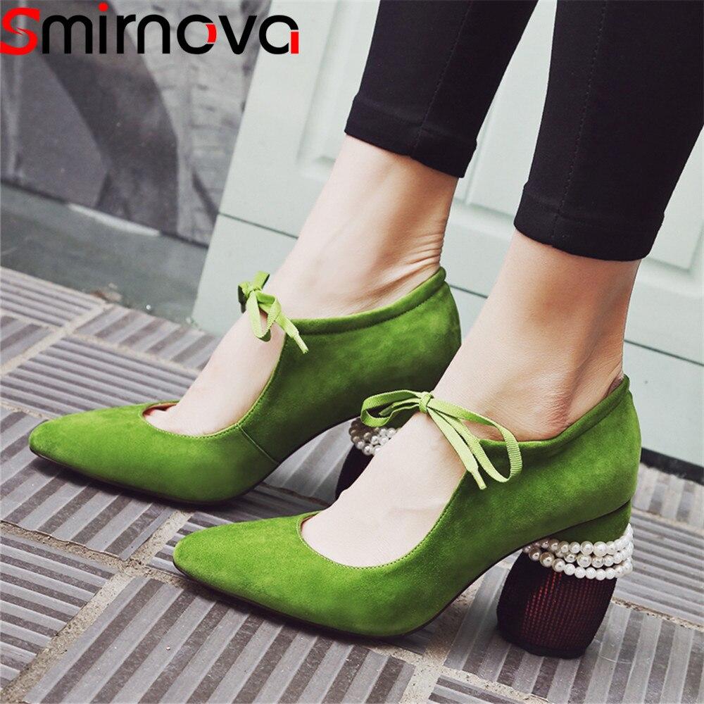 Negro Primavera Gamuza Bombas green Tacón Up Altos Cuero Tacones De Toe 2018 Lace Moda Grueso Zapatos Punta Otoño Mujeres Mujer Smirnova gHEwq