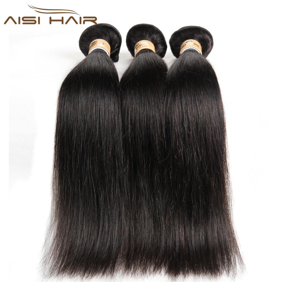 AISI HAIR Raw Indian Human Hair Straight Bundles Unprocessed Virgin Hair Extensions Straight Wave Natural Color ...