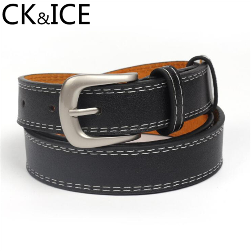 CK&ICE Vintage Women Belt Genuine Leather Metal Silvery Pin Buckle Scrub Straps Girl Fashion Accessories Simple Wild Style Belts