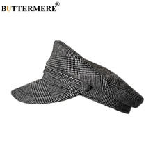 BUTTERMERE Plaid Military Hats For Women Houndstooth Cotton Linen German Army Caps Ladies Dark Grey Summer Female Flat Top Hat