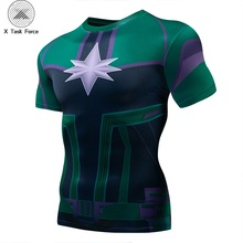 Carol Danvers movie Captain Marvel 3D Printed T-shirts Men Short sleeve compression Fitness Clothing Male Tops X Task Force