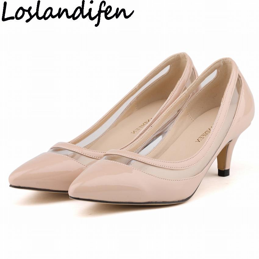 LOSLANDIFEN Women Pumps Low Heels Patchwork Pointy Toe Shoes PVC Clear Transparent Heels Shallow Mouth OL Occupation Sold Shoes